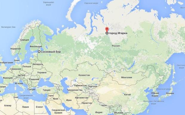 От Соснового Бора до Игарки по прямой более 2800 км.